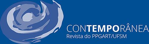"""Sobre fundo azul escuro a marca da revista composta por símbolo semelhante a uma espiral em tons de azul e cinza e ao lado, em letras maiúsculas brancas, """"Contemporânea"""" em cima e abaixo, """"Revista do PPGART/UFSM"""