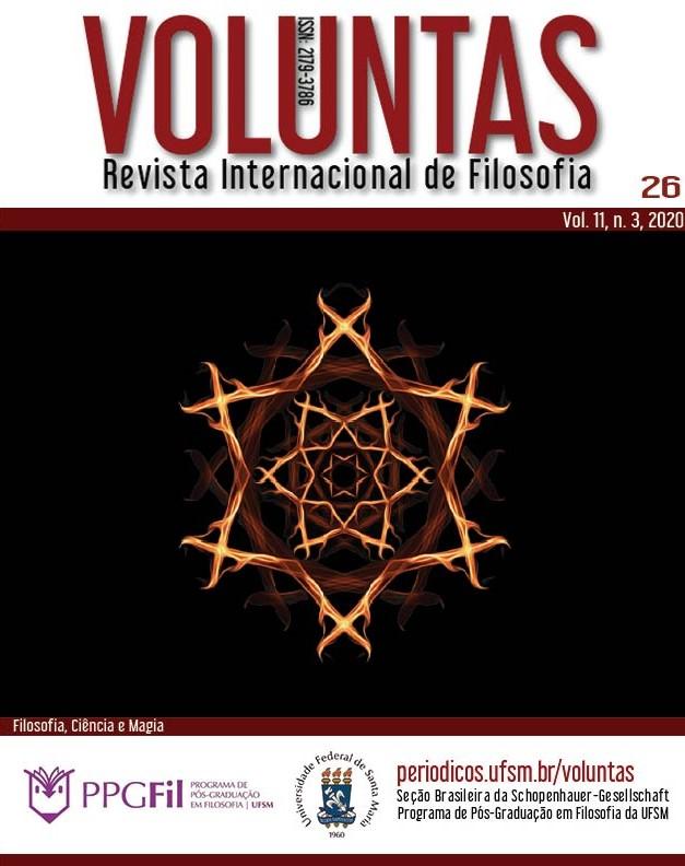 Capa da edição 26 do terceiro número do décimo primeiro volume da revista Voluntas intitulada Filosofia, ciência e magia com um pentagrama ao centro.
