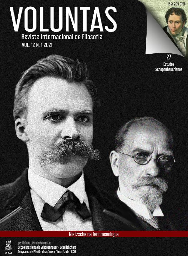 Na capa da Revista Voluntas encontramos a imagem de dois filósofos ao centro, uma dobra na lateral superior direita da página com a imagem de Schopenhauer, no canto interior esquerdo o logo da Universidade Federal de Santa Maria e do Programa de Filosofia